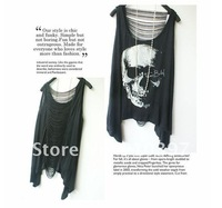 Женская футболка 2013 new hip-hop punk Sleeveless t SHIRT/tees women/ladies skull head vest black cool