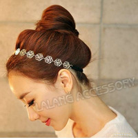 New 3pcs/lot Lovely Women Elastic Chain Hollowed Alloy Golden Rose Flower Stretch Hair Band Headband Hair Accessory 300002