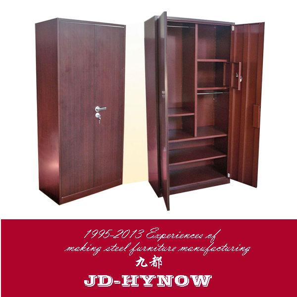 two door wooden color steel furniture metal bedroom cupboards design