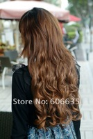 Free shipping Light Brown Lady's Long Curly Hair Wigs