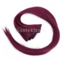5 шт цветные набивные в волос расширения прямой шиньоны 60см длиной - бордовый