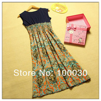 Hot Sale Bohemian Vintage Print Chiffon Patchwork Long Dress For Summer Wear N1003