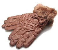 Warm winter gloves boutique butterfly knot double gloves fur cuff gloves with velvet lining