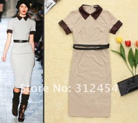 Женское платье 2012 A/W New Fashion Celebrity Sheath Jersey Dress SS12284 Women Short Sleeve Color Block Casual Day Dresses