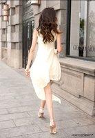 ladies' fashion evening dress women's spring summer chiffon elegant sexy miniasymmetric  dresses free shipping