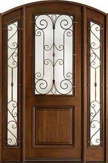 Doble de madera maciza puerta de hierro forjado dj for Disenos de puertas en madera y vidrio