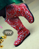 Женские ботинки Elf flower Hemp boots with Embroidery chinese traditional QianCengDe