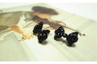 Серьги-гвоздики lot mix available, Graceful black bowknot earrings studs, ear piercing stud, 2113.2477A