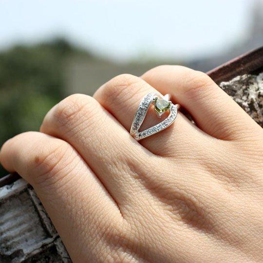 5x5cm сердце камень Инь подарок матери зеленый перидот Серебряное кольцо женщин Sz 6 JV0743