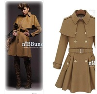 Женская одежда из шерсти New special star Cloak Cape coat jacket with skirt type, camel or dark blue color/wind coat/Clothes Women, fasion overcoat