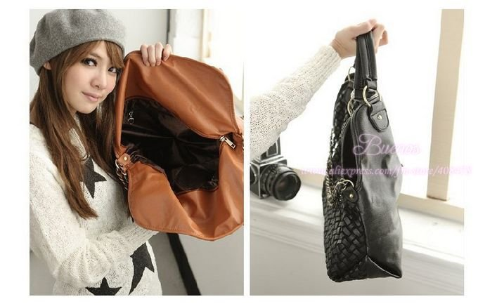 2012 New! Free Shipping Big Fashion PU Leather Handbag Popular Shoulder Bag Messenger Bag Q017