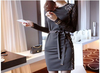 Женское платье 2013 new hot fashion women clothing cotton cute casual high street sheath active sexy dress Lace stitching hollow belt bow