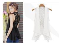 Лето новых мода шифона кружева белый черный рукавов оборки плюс размер случайных blusas рубашка женщин Блузка женская Блузки
