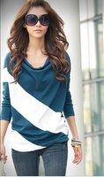 Loose рукавом Футболка шить пуловер в полоску с длинным рукавом трикотаж для дамы wtl005