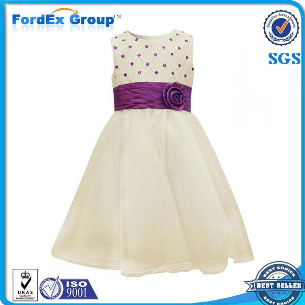 Niñas tachonado confirmación vestido púrpura / blanco 3 - 10 años ...