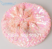 Аксессуар для волос 338~ 60pcs/lot New Trendy Sparkle Sequin Beanie Beret Cap Hat, 12 colors