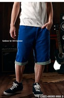 Мужские шорты 2012 summer Men's Fashion han edition flanging grid Leisure trousers shorts, and retail