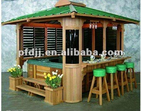 Durable pavillon ext rieur en bois jardin gazebo belv d re for Fabriquer un bar exterieur