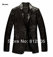 Мужские изделия из кожи и замши 2013 new men's genuine sheepskin leather jacket for autumn fashion business suit collar coat black short design outerwear m-xxxl