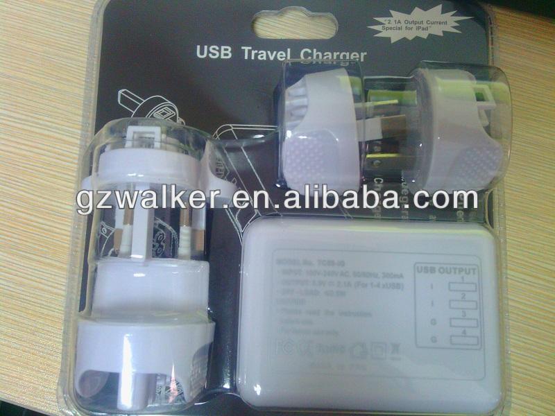 Wholesale EU US UK multifunction quad USB travel charger for smasung S4