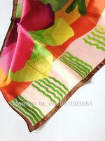 100% чистых Шёлковый шарф, 90 * 90 см квадратные шарфы, яркий цветной шарф