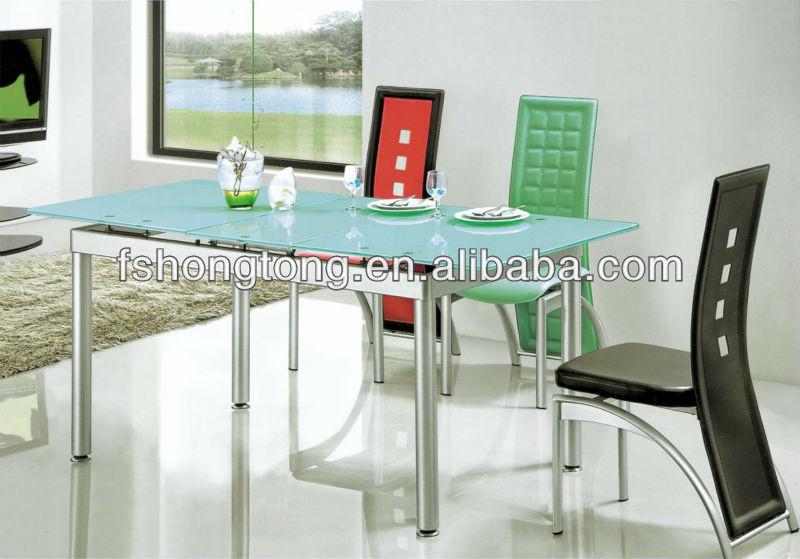 Acero inoxidable bistro juego de comedor/extendable dining table ...