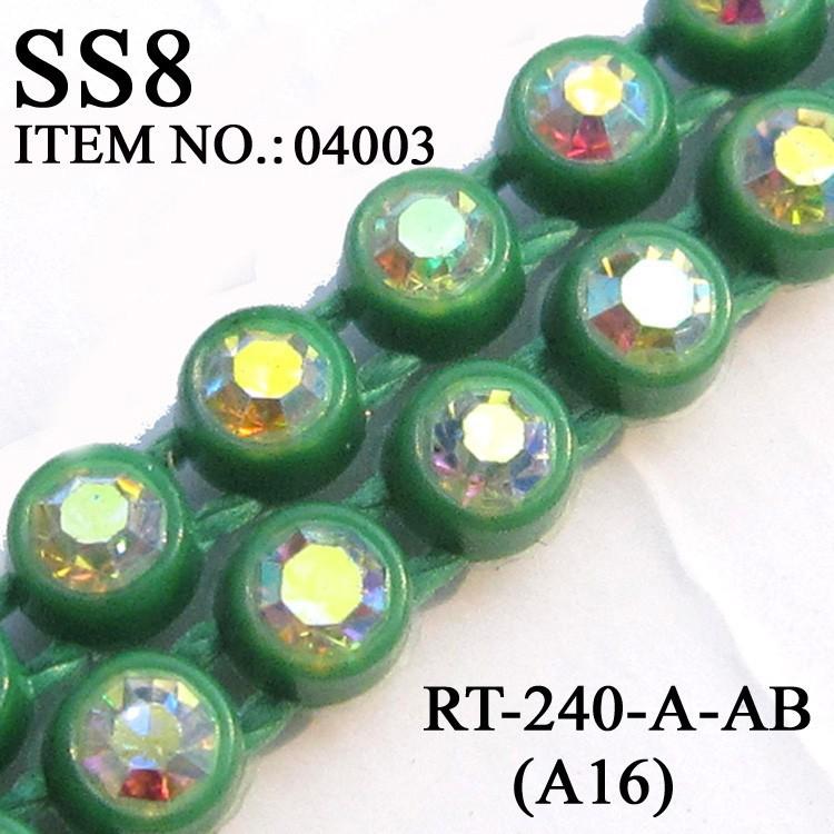 A16 green color base rhinestone cup chain (8)