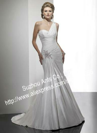 Vintage BN321 Sexy Open Back Sheath Oneshoulder Wedding Gowns