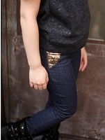 Fashion Korean style unisex boy gilr kids child winter Skinny bamboo Leggings Fuax Jeans pants Christmas gift