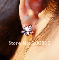 Серьги-гвоздики South Korea, Europe The United States Colorful Rinestone Stars Cute Earrings