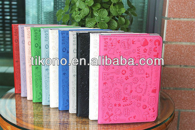 Magnetic book style leather pc hard case for ipad mini