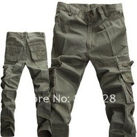 Kingtime New Style Fashion Men's Casual Pants, Leisure Trousers 100% Cotton, Three Colors:Black Army Green Kahki, KTB23 Asian size