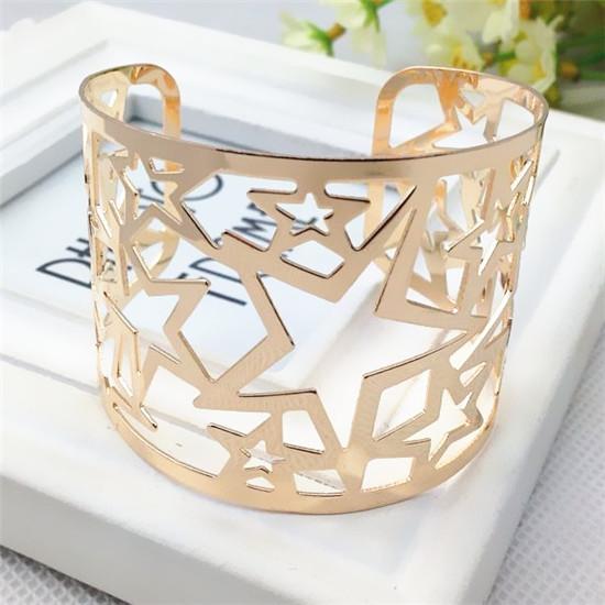 4pcs/lot 2016 New Fashion Jewelry Unique Hollowed Star Design Open Charm Bracelets Silver Gold Open Bracelets&Bangles JY-716