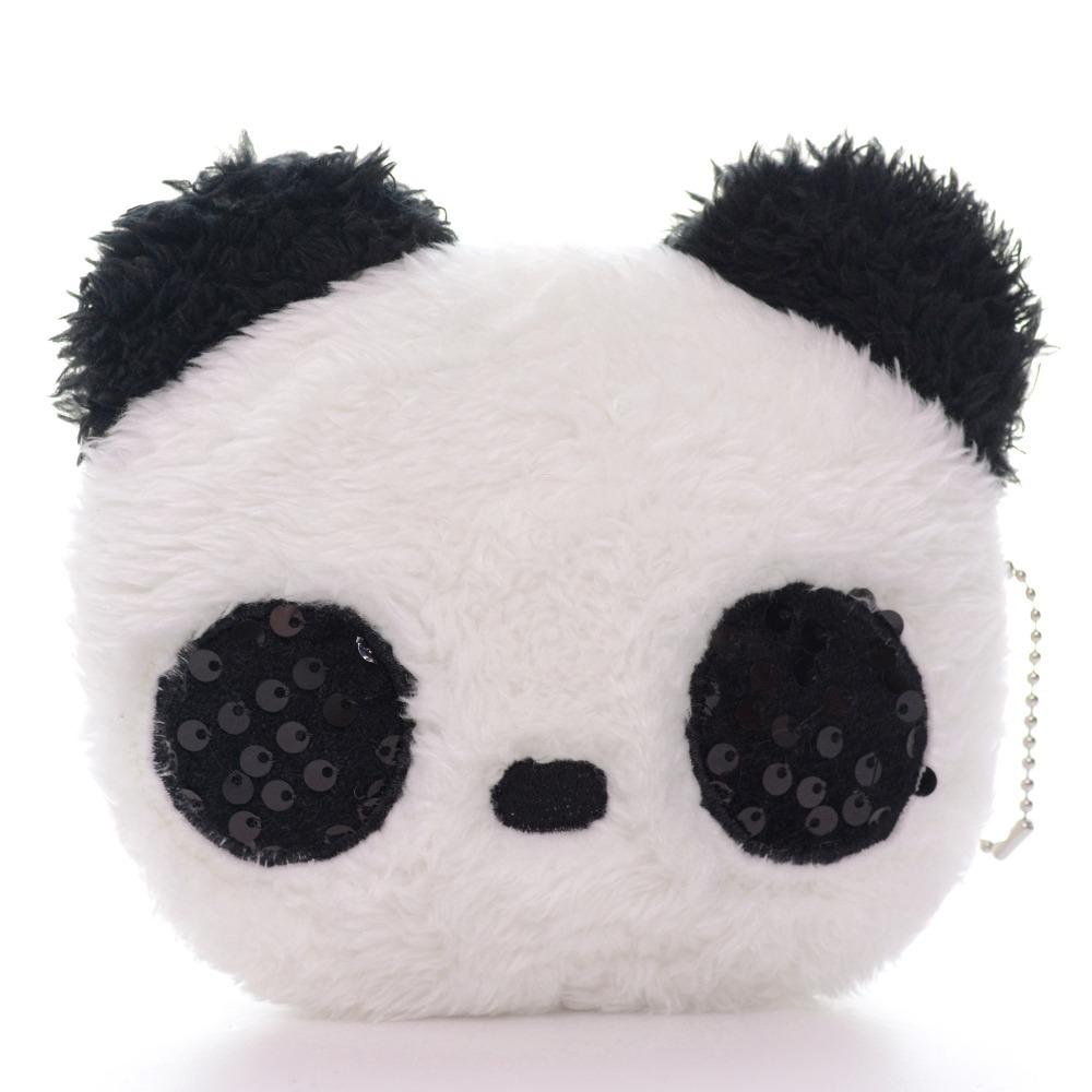 Kawaii White Panda Coin Purse Plush Girls Women Mini Wallets Bag Coin Purse Organizer Mini Fashion Cartoon Bags 5*4\'\' New
