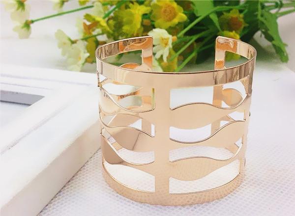 4pcs/lot 2016 Unique Red Wine Cup Wide Open Hollow Charm Bracelet Girl Fashion Metal Silver Gold Cuff Bracelets&Bangles JY-8701