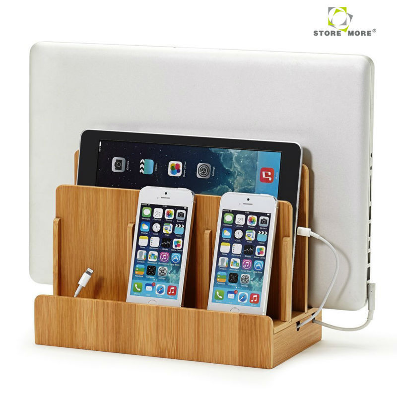 Charging Station Organizer Bamboo Multi Device Charging Station And Cord Organizer For Smartphones