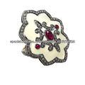 Anillo Pintado con Esmalte Blanco con Piedras Preciosas Anillo de Oro Amarillo 14k Anillo de Plata Esterlina 925 con Diamantes