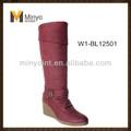 minyo rojo de invierno mujer cuña de la rodilla botas de alto diseño de calzado