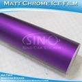 Cromo mate de color púrpura de hielo del coche decorativas pegatina de vinilo 1.52x30m