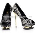Venta 2014 superior madura sexy oro negro señoras verano zapatos