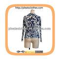 nuevo diseño de manga larga mujer blusa de pliegues