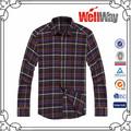 100 manga larga de algodón negro y rojo de verificación camisas de los hombres de fabricación china