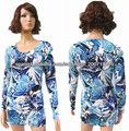 Señoras de la viscosa / nylon cuello redondo con reactivos suéter impresión