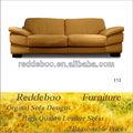 Nuevos diseños de color amarillo de cuero sofá muebles, estilo americano de color amarillo de cuero sofá del ocio
