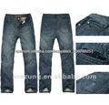 Cosecha de la marca de moda los pantalones vaqueros 100% jean pantalones de algodón con bordado de palabras para los hombres---