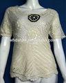 manga curta novos padrões de design feito à mão camisola de malha