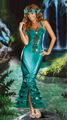 atractivo azul sirena de vestuario de la mujer