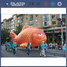 Pvc de gran desfile de promoción inflable peces voladores, inflable gigante de pescado, pescado en forma de globo