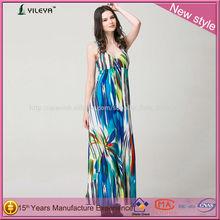 bohemio estilo colorido de maternidad vestido maxi con la división para las señoras