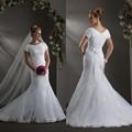 manga corta cuello redondo de encaje blanco de moda los vestidos de boda baratos hechos en China